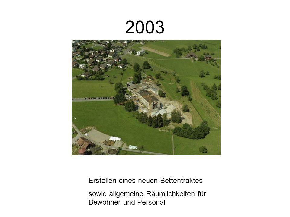 2003 Erstellen eines neuen Bettentraktes sowie allgemeine Räumlichkeiten für Bewohner und Personal
