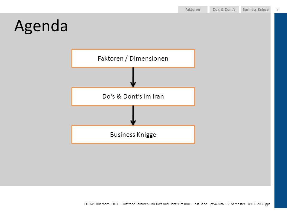 FHDW Paderborn – IKO – Hofstede Faktoren und Dos and Donts im Iran – Jost Bade – pfv407ba – 2. Semester – 09.06.2008.ppt Business KniggeDos & Donts 2