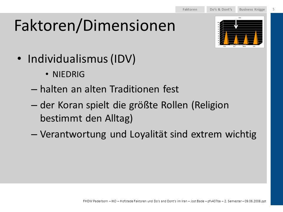 FHDW Paderborn – IKO – Hofstede Faktoren und Dos and Donts im Iran – Jost Bade – pfv407ba – 2. Semester – 09.06.2008.ppt Business KniggeDos & Donts 5