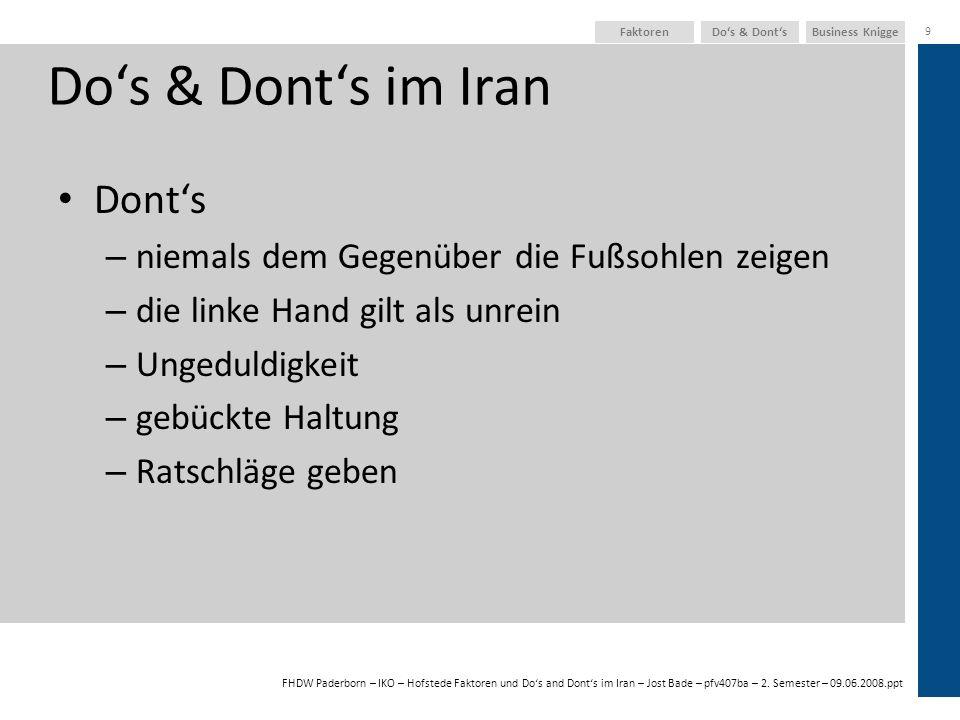 FHDW Paderborn – IKO – Hofstede Faktoren und Dos and Donts im Iran – Jost Bade – pfv407ba – 2. Semester – 09.06.2008.ppt Business KniggeDos & Donts 9