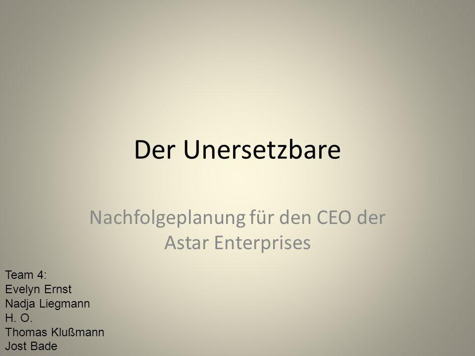 Der Unersetzbare Nachfolgeplanung für den CEO der Astar Enterprises Team 4: Evelyn Ernst Nadja Liegmann H.