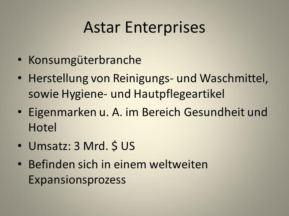 Edward Bennett Alter: 64 CEO Astar Enterprises seit 25 Jahren im Unternehmen innovativ, durchsetzungsstark, erfolgreich exzellentes Kontaktnetzwerk (Kunden und Lieferanten) unter Bennetts Führung starkes Wachstum der Firma sehr guter Ruf durch Bennetts Arbeit
