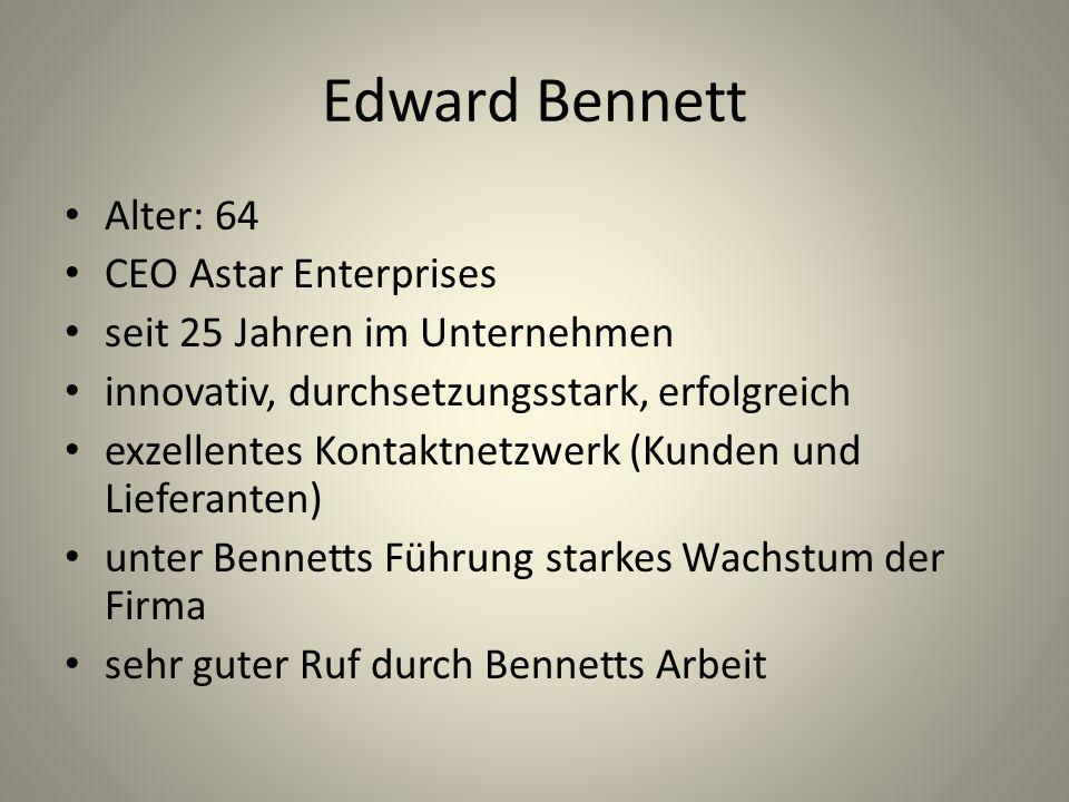Problematik der Fallstudie Nachfolgeplanung nicht gesichert – gestaltet sich schwierig Bennett stellt sich zur Findung eines eventuellen Nachfolgers quer, weil er sich noch wie 50 fühlt.