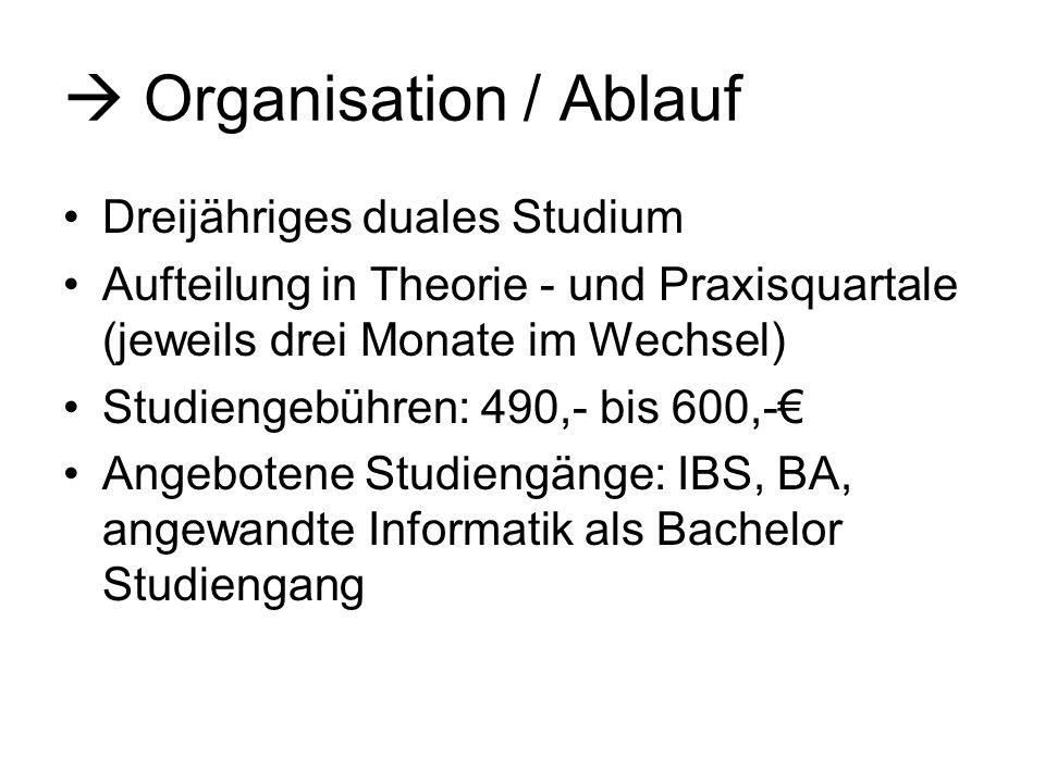 Organisation / Ablauf Dreijähriges duales Studium Aufteilung in Theorie - und Praxisquartale (jeweils drei Monate im Wechsel) Studiengebühren: 490,- b
