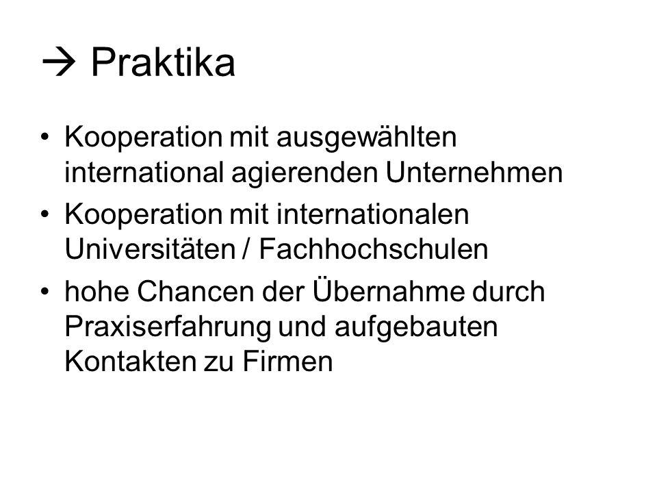 Praktika Kooperation mit ausgewählten international agierenden Unternehmen Kooperation mit internationalen Universitäten / Fachhochschulen hohe Chance