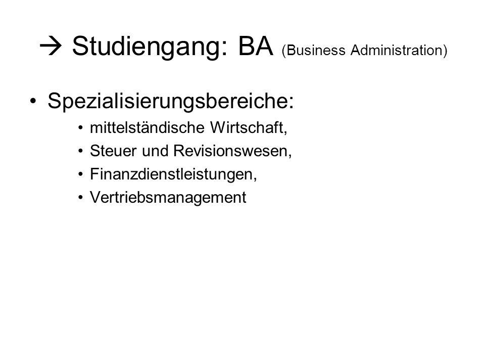 Studiengang: BA (Business Administration) Spezialisierungsbereiche: mittelständische Wirtschaft, Steuer und Revisionswesen, Finanzdienstleistungen, Vertriebsmanagement