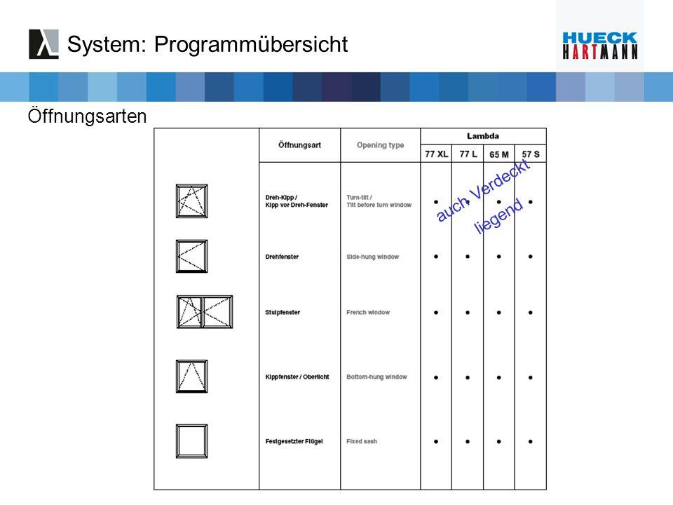 System: Programmübersicht Öffnungsarten auch Verdeckt liegend