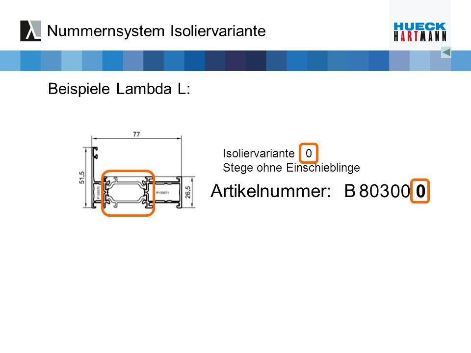 Isoliervariante 0 Stege ohne Einschieblinge Nummernsystem Isoliervariante Beispiele Lambda L: Artikelnummer: B 803 00 0