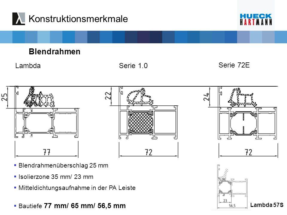 LambdaSerie 1.0 Serie 72E Blendrahmenüberschlag 25 mm Isolierzone 35 mm/ 23 mm Mitteldichtungsaufnahme in der PA Leiste Bautiefe 77 mm/ 65 mm/ 56,5 mm
