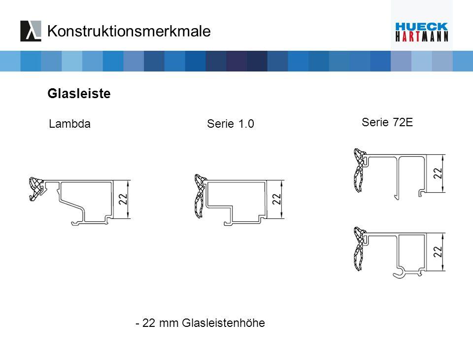 LambdaSerie 1.0 Serie 72E - 22 mm Glasleistenhöhe Konstruktionsmerkmale Glasleiste
