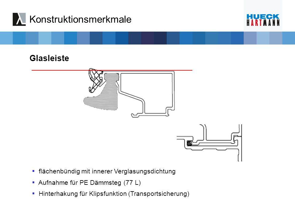 flächenbündig mit innerer Verglasungsdichtung Aufnahme für PE Dämmsteg (77 L) Hinterhakung für Klipsfunktion (Transportsicherung) Glasleiste Konstrukt