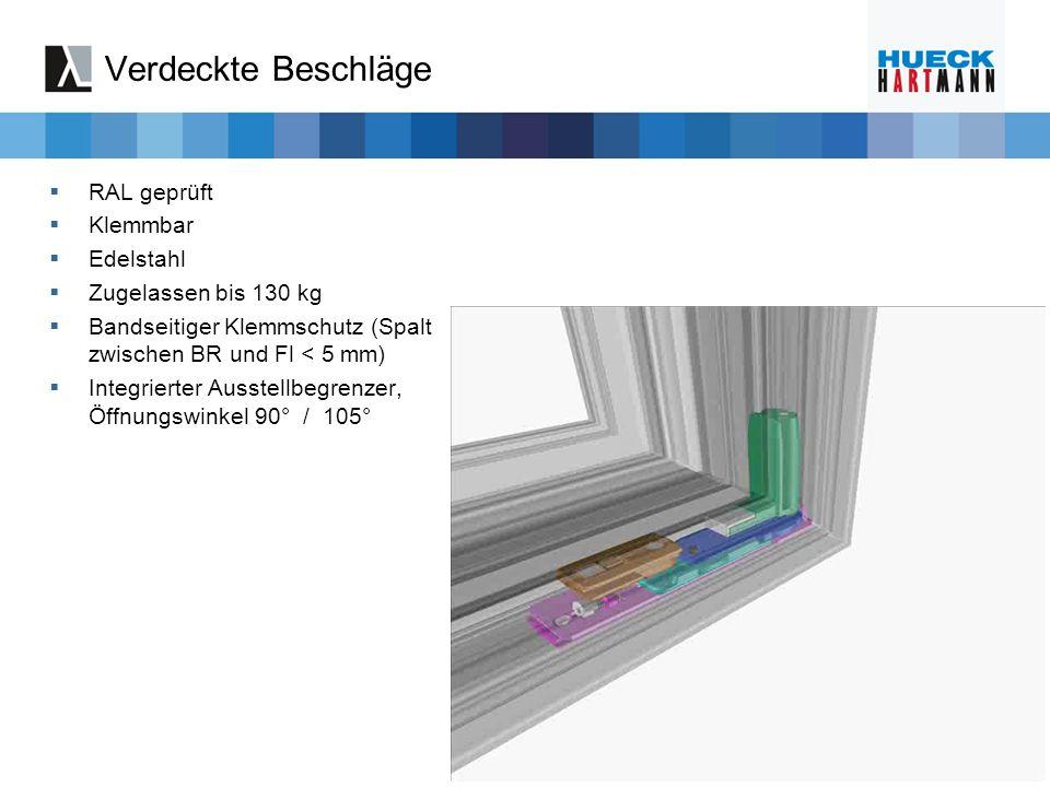 Verdeckte Beschläge RAL geprüft Klemmbar Edelstahl Zugelassen bis 130 kg Bandseitiger Klemmschutz (Spalt zwischen BR und Fl < 5 mm) Integrierter Ausst