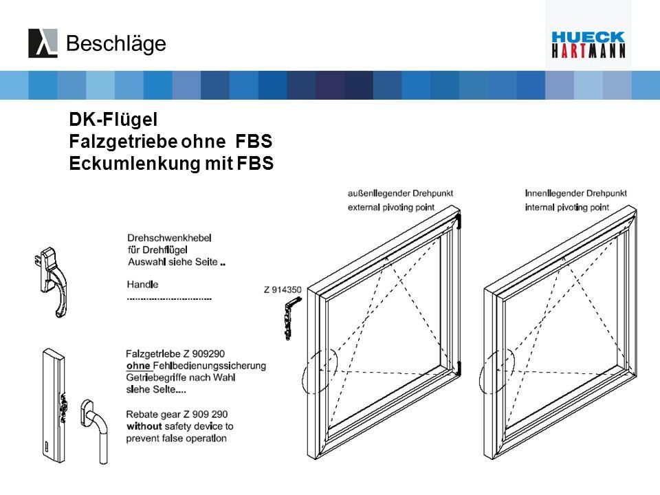 Beschläge DK-Flügel Falzgetriebe ohne FBS Eckumlenkung mit FBS