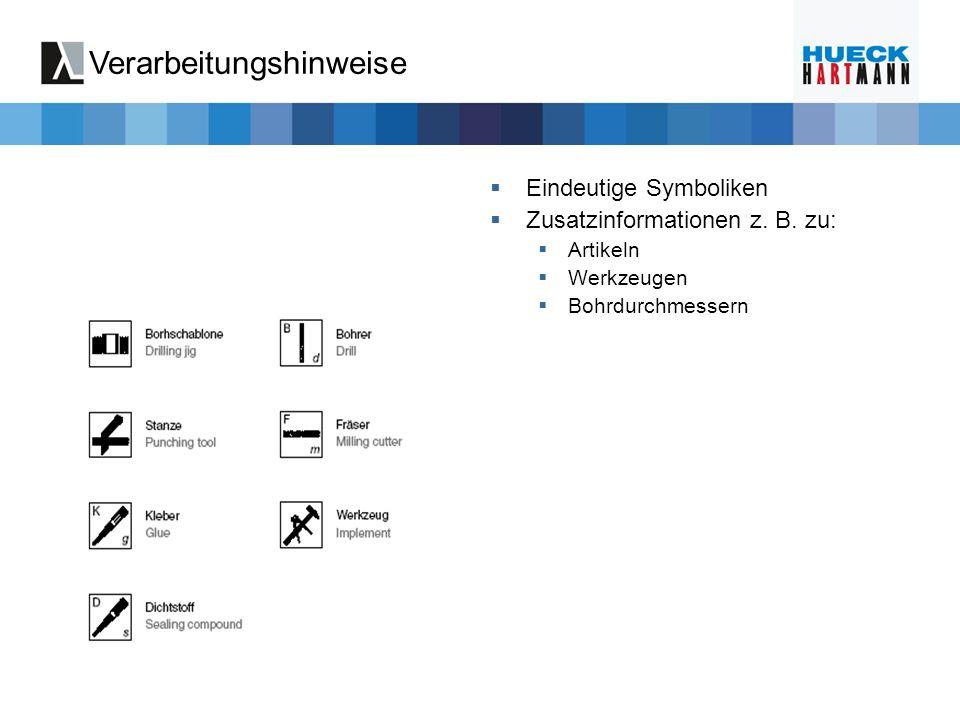 Verarbeitungshinweise Eindeutige Symboliken Zusatzinformationen z. B. zu: Artikeln Werkzeugen Bohrdurchmessern