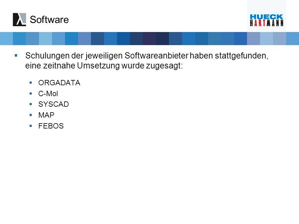 Software Schulungen der jeweiligen Softwareanbieter haben stattgefunden, eine zeitnahe Umsetzung wurde zugesagt: ORGADATA C-Mol SYSCAD MAP FEBOS