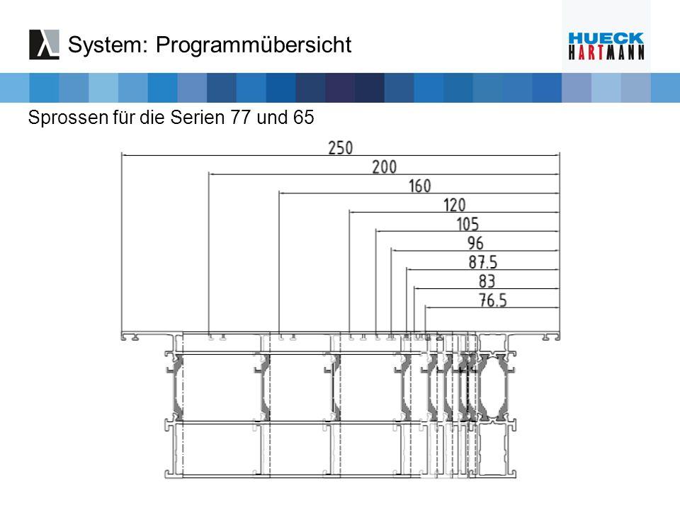 Sprossen für die Serien 77 und 65 System: Programmübersicht