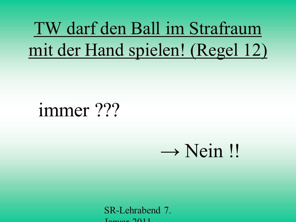 SR-Lehrabend 7.Januar 2011 Verbotenes Spiel mit der Hand (Regel 12, S.
