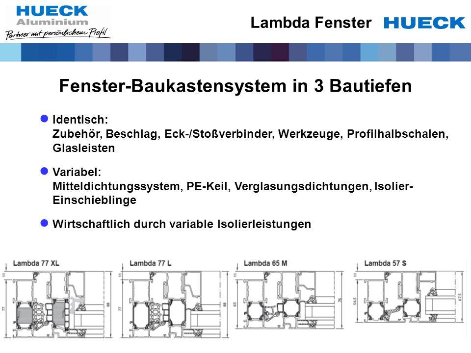 Lambda Fenster Identisch: Zubehör, Beschlag, Eck-/Stoßverbinder, Werkzeuge, Profilhalbschalen, Glasleisten Variabel: Mitteldichtungssystem, PE-Keil, V
