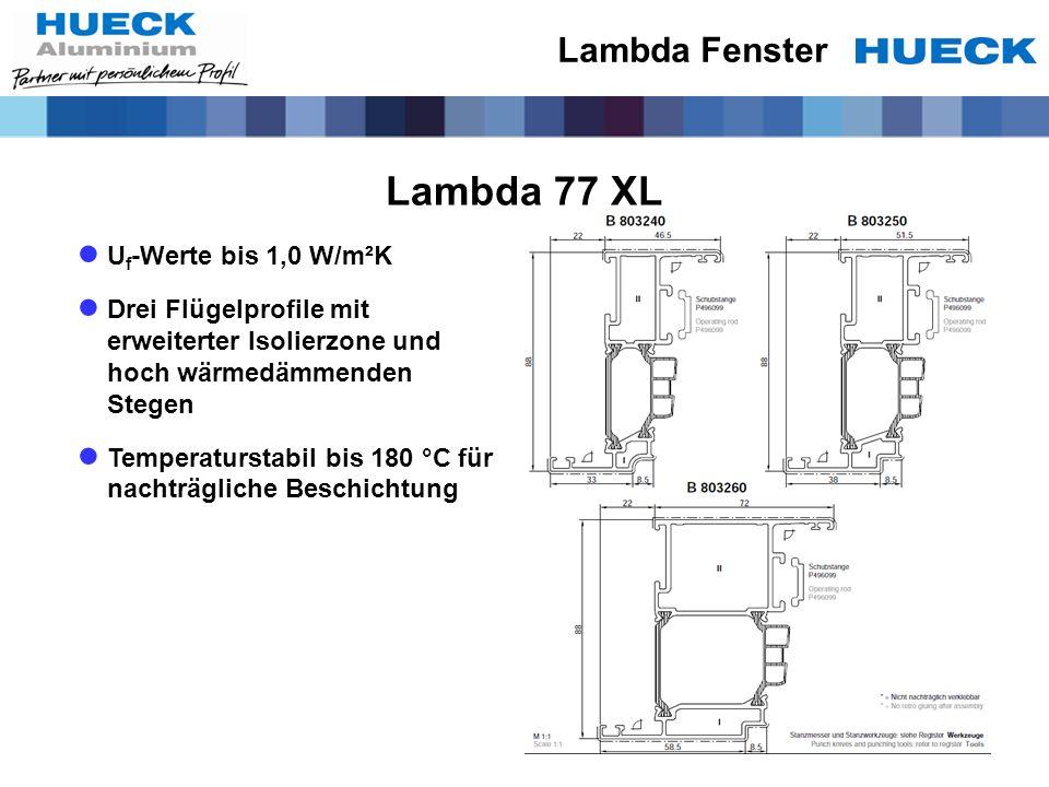 Lambda 77 XL U f -Werte bis 1,0 W/m²K Drei Flügelprofile mit erweiterter Isolierzone und hoch wärmedämmenden Stegen Temperaturstabil bis 180 °C für na
