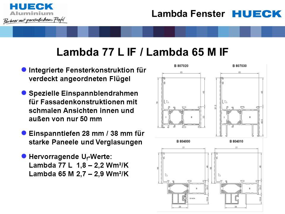 Lambda 77 L IF / Lambda 65 M IF Integrierte Fensterkonstruktion für verdeckt angeordneten Flügel Spezielle Einspannblendrahmen für Fassadenkonstruktio