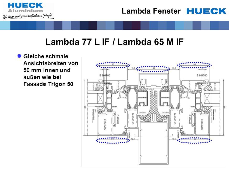 Lambda 77 L IF / Lambda 65 M IF Gleiche schmale Ansichtsbreiten von 50 mm innen und außen wie bei Fassade Trigon 50 Lambda Fenster