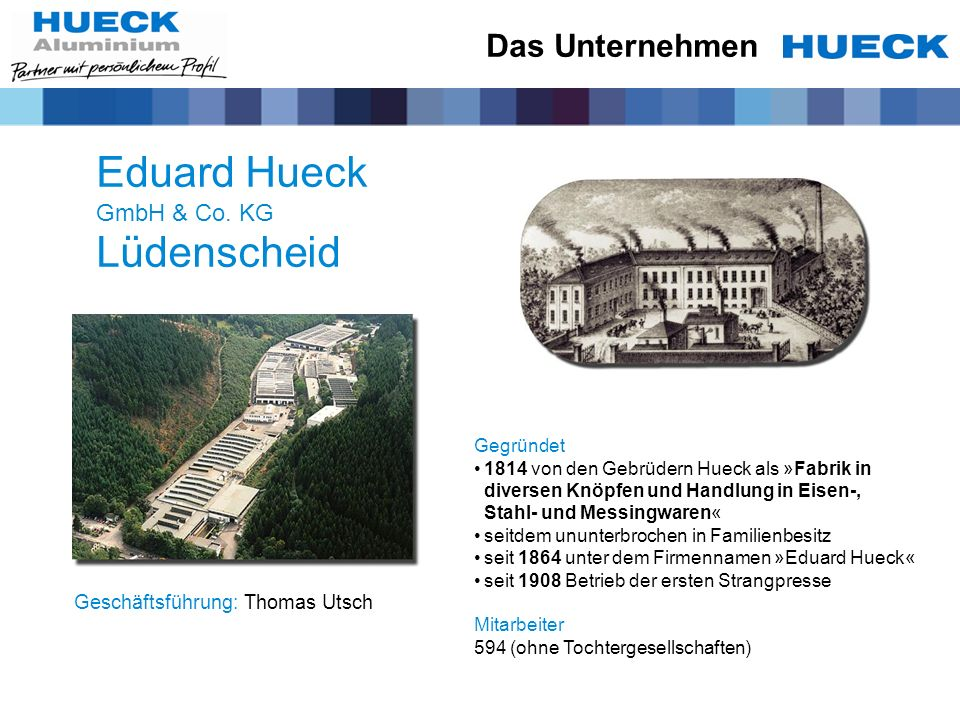 Das Unternehmen Eduard Hueck GmbH & Co. KG Lüdenscheid Geschäftsführung:Thomas Utsch Gegründet1814 von den Gebrüdern Hueck als »Fabrik in diversen Knö