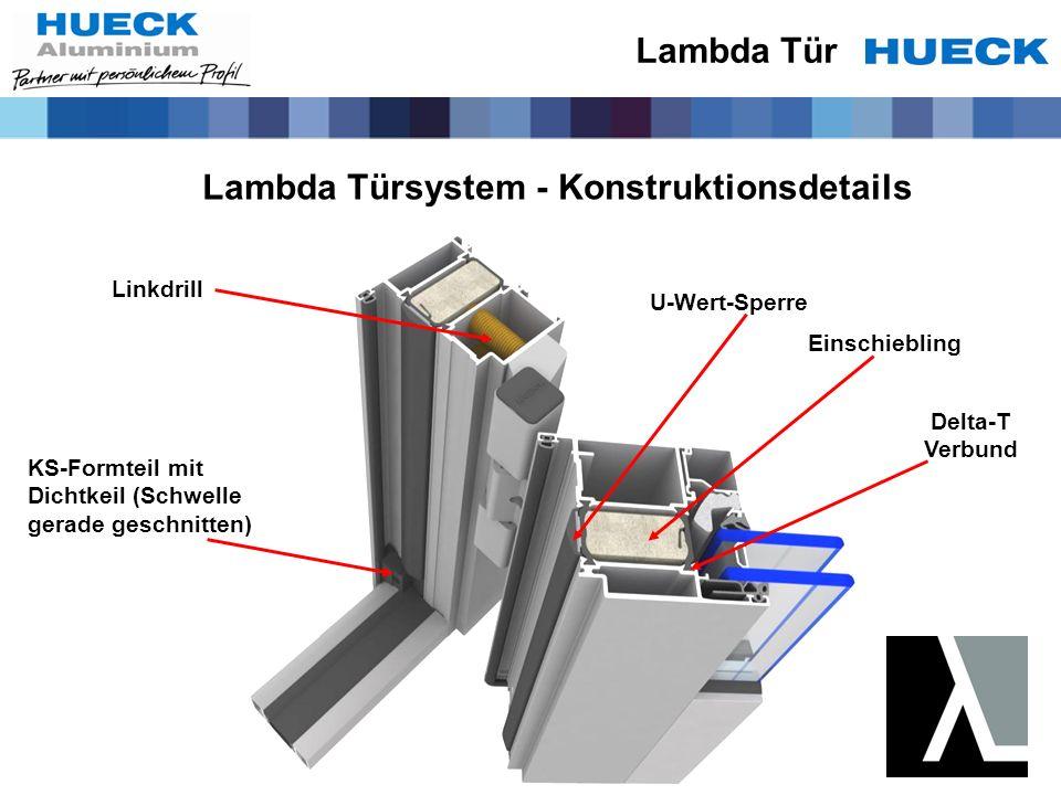 Lambda Tür Lambda Türsystem - Konstruktionsdetails U-Wert-Sperre Einschiebling Linkdrill KS-Formteil mit Dichtkeil (Schwelle gerade geschnitten) Delta