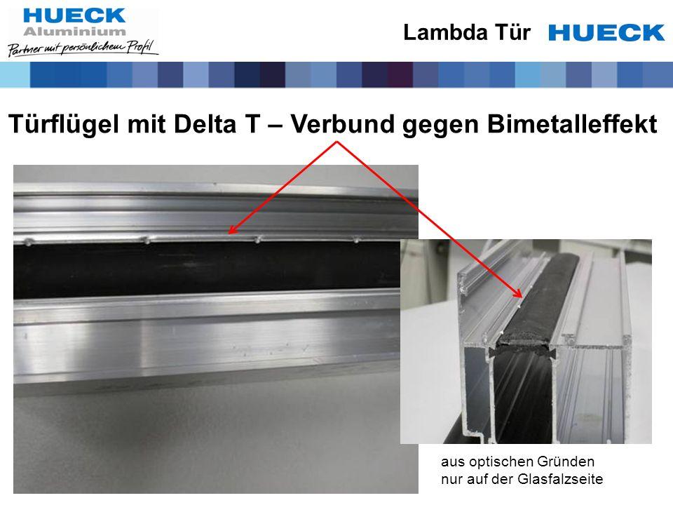 Türflügel mit Delta T – Verbund gegen Bimetalleffekt Lambda Tür aus optischen Gründen nur auf der Glasfalzseite