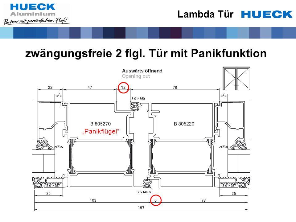 zwängungsfreie 2 flgl. Tür mit Panikfunktion Lambda Tür Panikflügel