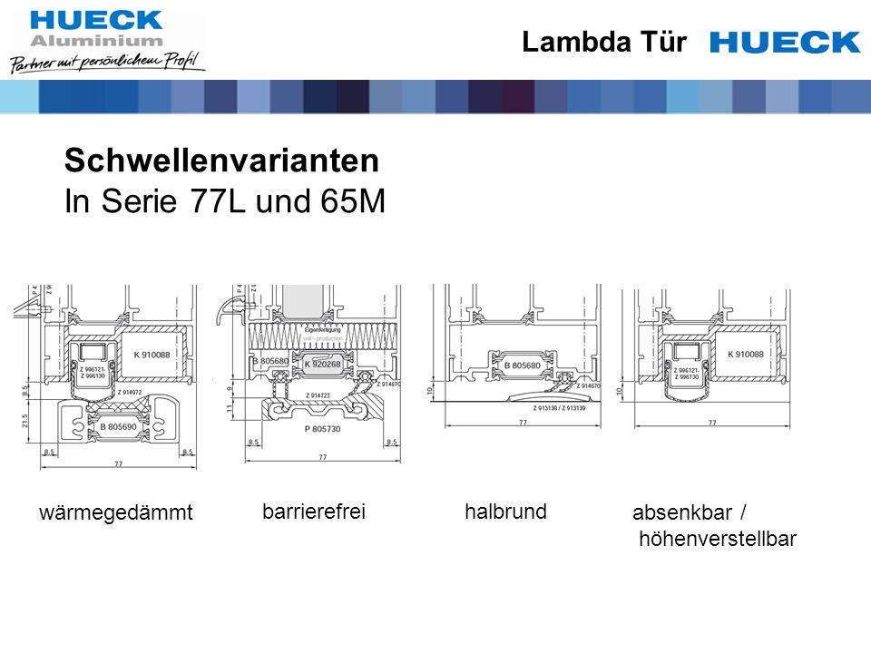 Schwellenvarianten In Serie 77L und 65M Lambda Tür wärmegedämmt barrierefreihalbrund absenkbar / höhenverstellbar
