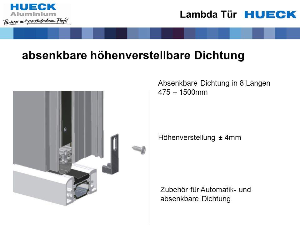 absenkbare höhenverstellbare Dichtung Höhenverstellung ± 4mm Zubehör für Automatik- und absenkbare Dichtung Absenkbare Dichtung in 8 Längen 475 – 1500