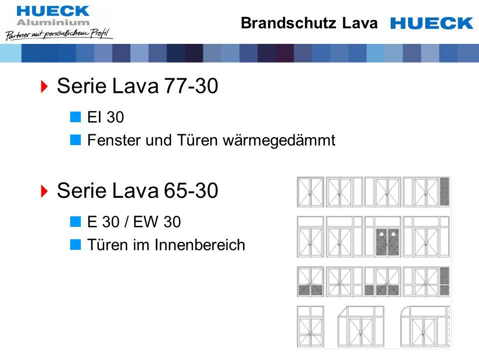 Brandschutz Lava Serie Lava 77-30 EI 30 Fenster und Türen wärmegedämmt Serie Lava 65-30 E 30 / EW 30 Türen im Innenbereich