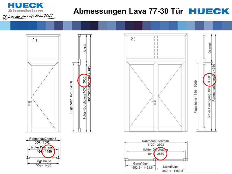 Abmessungen Lava 77-30 Tür