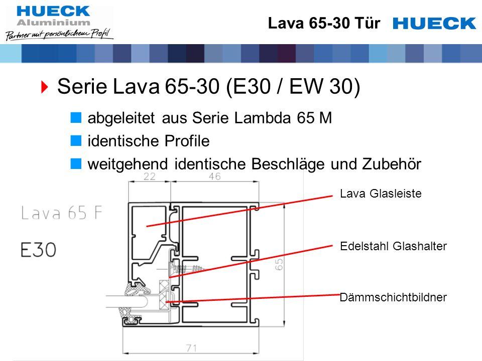 Lava 65-30 Tür Serie Lava 65-30 (E30 / EW 30) abgeleitet aus Serie Lambda 65 M identische Profile weitgehend identische Beschläge und Zubehör Edelstah