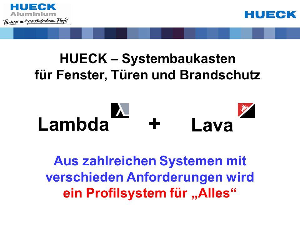 HUECK – Systembaukasten für Fenster, Türen und Brandschutz Lambda Lava + Aus zahlreichen Systemen mit verschieden Anforderungen wird ein Profilsystem