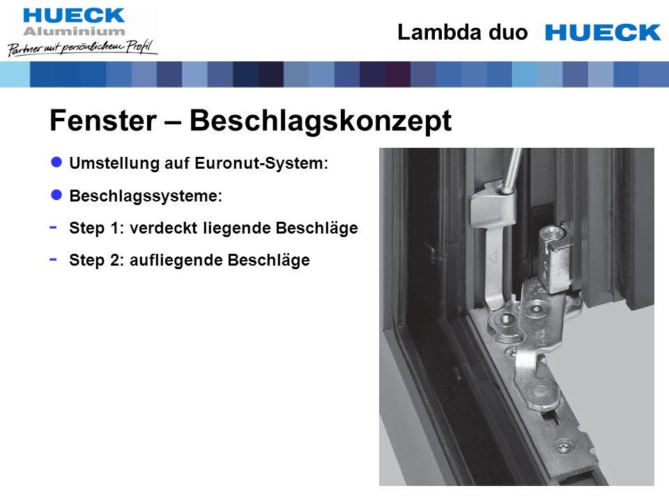 Fenster – Beschlagskonzept Umstellung auf Euronut-System: Beschlagssysteme: - Step 1: verdeckt liegende Beschläge - Step 2: aufliegende Beschläge Lamb