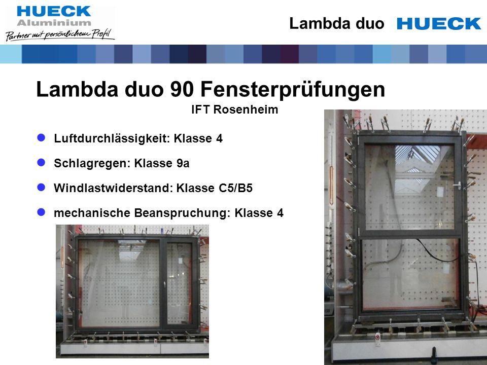 Lambda duo 90 Fensterprüfungen IFT Rosenheim Luftdurchlässigkeit: Klasse 4 Schlagregen: Klasse 9a Windlastwiderstand: Klasse C5/B5 mechanische Beanspr