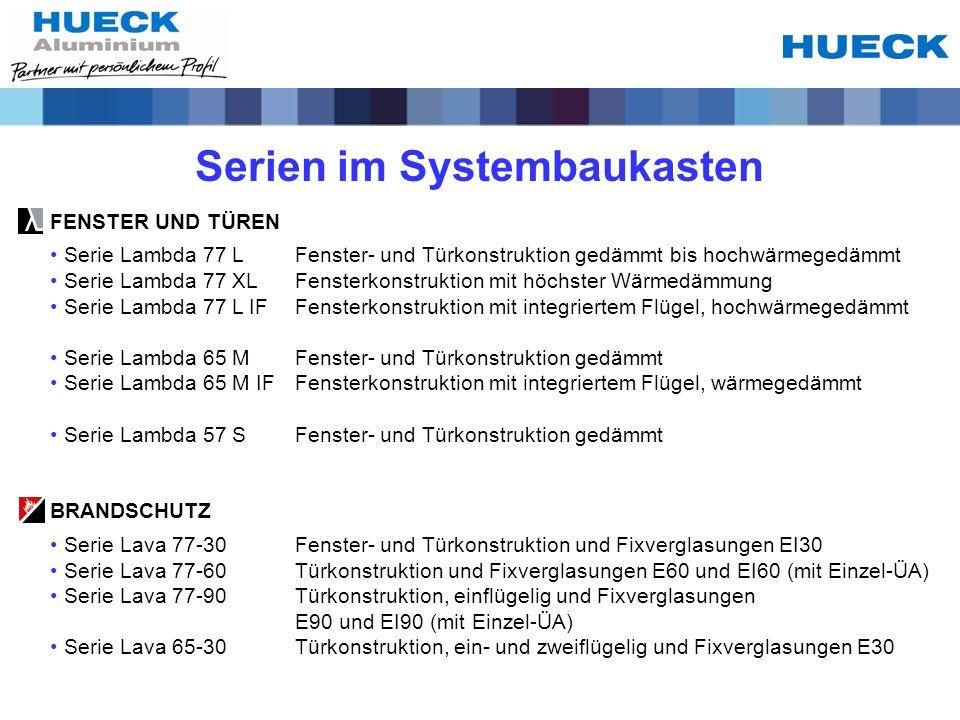 Vorteile des HUECK – Systembaukastens Schnellere Verarbeitung durch systemgleiche Arbeitsschritte wie z.B.