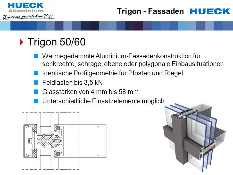 Trigon 50/60 Wärmegedämmte Aluminium-Fassadenkonstruktion für senkrechte, schräge, ebene oder polygonale Einbausituationen Identische Profilgeometrie
