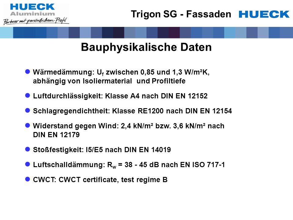 Bauphysikalische Daten Wärmedämmung: U f zwischen 0,85 und 1,3 W/m²K, abhängig von Isoliermaterial und Profiltiefe Luftdurchlässigkeit: Klasse A4 nach