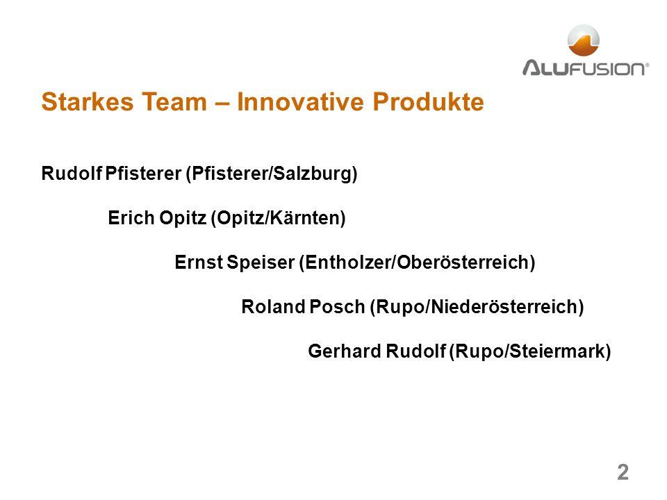 Starkes Team – Innovative Produkte Rudolf Pfisterer (Pfisterer/Salzburg) Erich Opitz (Opitz/Kärnten) Ernst Speiser (Entholzer/Oberösterreich) Roland Posch (Rupo/Niederösterreich) Gerhard Rudolf (Rupo/Steiermark) 2
