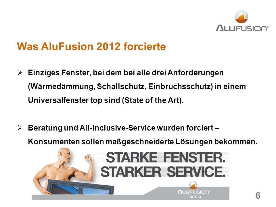 Was AluFusion 2012 forcierte Einziges Fenster, bei dem bei alle drei Anforderungen (Wärmedämmung, Schallschutz, Einbruchsschutz) in einem Universalfenster top sind (State of the Art).