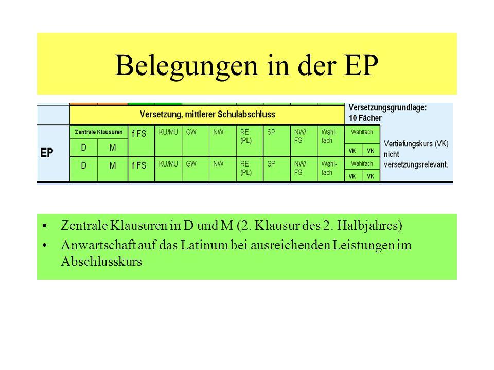 Belegungen in der EP Zentrale Klausuren in D und M (2. Klausur des 2. Halbjahres) Anwartschaft auf das Latinum bei ausreichenden Leistungen im Abschlu
