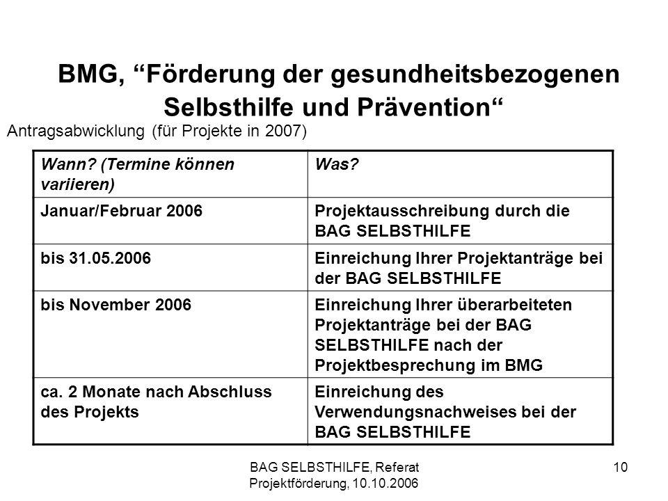 BAG SELBSTHILFE, Referat Projektförderung, 10.10.2006 10 BMG, Förderung der gesundheitsbezogenen Selbsthilfe und Prävention Antragsabwicklung (für Pro