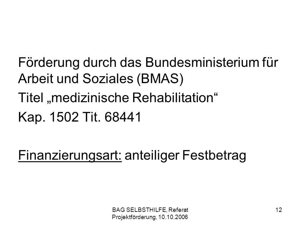 BAG SELBSTHILFE, Referat Projektförderung, 10.10.2006 12 Förderung durch das Bundesministerium für Arbeit und Soziales (BMAS) Titel medizinische Rehab