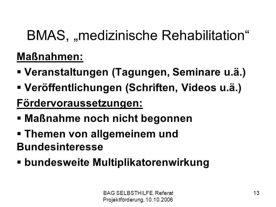 BAG SELBSTHILFE, Referat Projektförderung, 10.10.2006 13 BMAS, medizinische Rehabilitation Maßnahmen: Veranstaltungen (Tagungen, Seminare u.ä.) Veröff