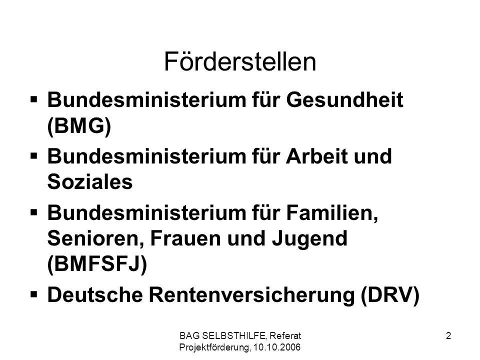 BAG SELBSTHILFE, Referat Projektförderung, 10.10.2006 3 Gesetzliche Grundlagen (alle Förderstellen) die Verwaltungsvorschriften zum § 44 der Bundeshaushaltsordnung (VV-BHO) die Allgemeinen Nebenbestimmungen für Zuwendungen zur Projektförderung (ANBest-P) (DRV: Allgemeine Hinweise) die §§ 3 und 30 der Verdingungsordnung für Leistungen (VOL/A) das Bundesreisekostengesetz (BRKG)