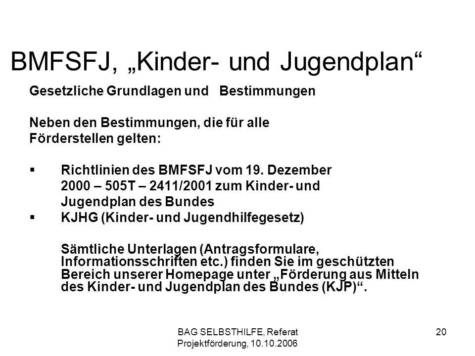 BAG SELBSTHILFE, Referat Projektförderung, 10.10.2006 20 BMFSFJ, Kinder- und Jugendplan Gesetzliche Grundlagen und Bestimmungen Neben den Bestimmungen