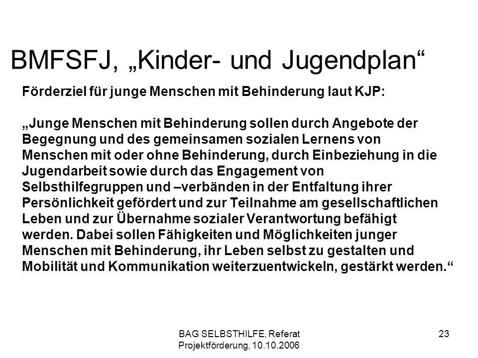 BAG SELBSTHILFE, Referat Projektförderung, 10.10.2006 23 BMFSFJ, Kinder- und Jugendplan Förderziel für junge Menschen mit Behinderung laut KJP: Junge