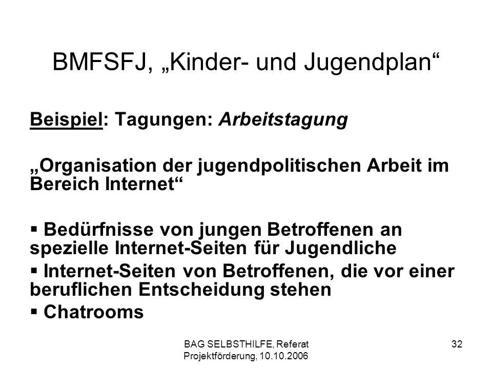 BAG SELBSTHILFE, Referat Projektförderung, 10.10.2006 32 BMFSFJ, Kinder- und Jugendplan Beispiel: Tagungen: Arbeitstagung Organisation der jugendpolit